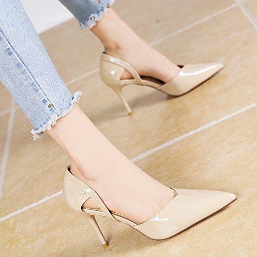 comode b singolo con estate stile YMFIE scarpe moda scavata europeo alti di Lo tacchi ed lacca primavera ladies di vZp1qwpTU