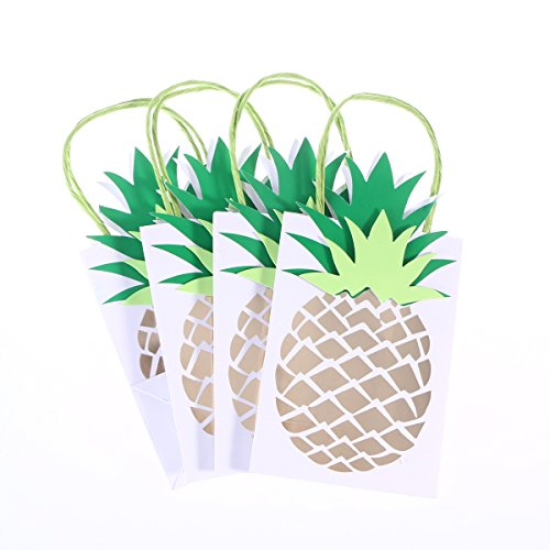 LUOEM Luau Party Supplies Hawaii Gift Bag Pineapple Paper Handle Gift Bag Party Treat Bags,Pack of 4 -