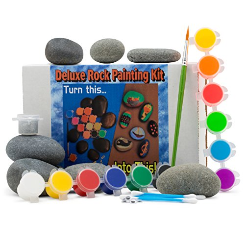 Deluxe Rock Painting Kit, with Rocks, Arts and Crafts Kit for Adults and Kids