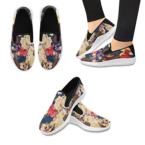Interesse Art Vintage Floreale Con Gigli Bianchi, Oro Giallo E Rosa Rosso, Mocassini Donna Slip-on Mocassini In Tela Moda Sneakers Multi 1