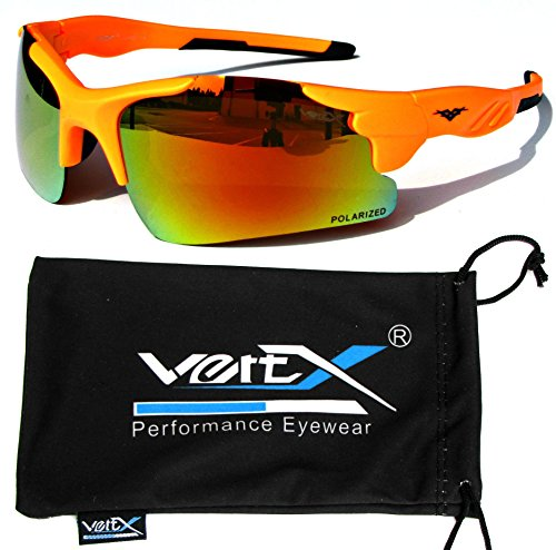 VertX Men's Polarized Sunglasses Sport Wrap Around Cycling Running Outdoor – Neon Orange Frame – Orange - Glasses Sports Cheap