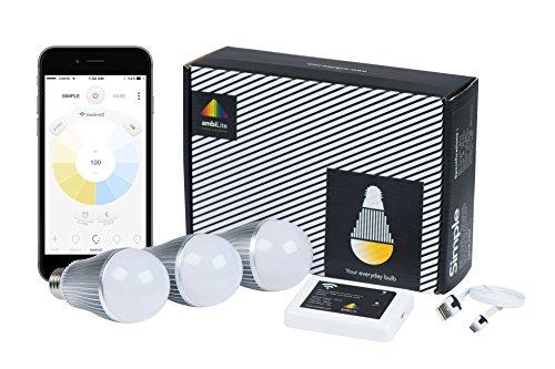Simple 9W starterkit (3 LED bulbs + 1 Genie): 9W Smart LED Light bulbs, wifi, warm to cool white color, ambiance lighting, dimmable, mood (Genie 1 Light)