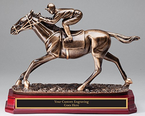 Horse & Jockey Resin Sculputure Award LARGE 9 1/2'' Race Horse by SLD Awards Line