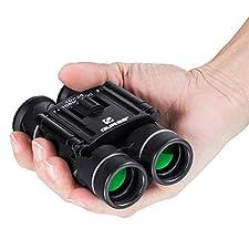 QUNSE Mini Binoculars Compact Design, Clear Optical Lens, Ultra-Vision, for Bird Watching 10x25 Pocket Size