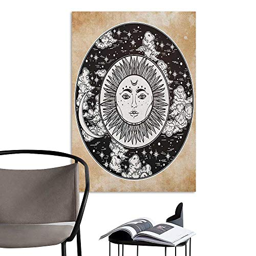 Wall Sticker self-Adhesive Mystic Ethnic Sun Face in A Circle Motif Esoteric Inner Power of The Cosmos Theme Black White Cream Decoration The Decorations Living Room W32 x -