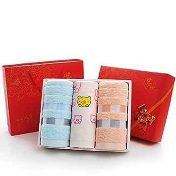 ZHFC Algodón toalla set de regalo tres pieza de la boda vida regalos souvenir 74x33cm regalo Empresa bienestar 3 Asamblea,Color polvo azul: Amazon.es: Hogar