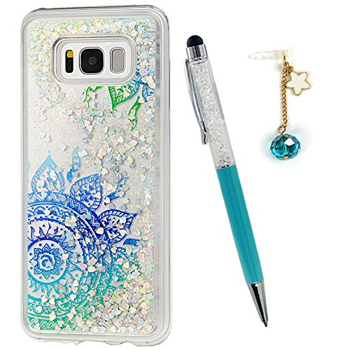 S8 Plus Case, Galaxy S8 Plus Case, Liquid Glitter Cover Quicksand Blue Mandala Totem Flower Bling Sparkle Flowing Moving Love Hearts Clear Slim Protective TPU Bumper with Stylus Pen Plug Dust ZSTVIVA -