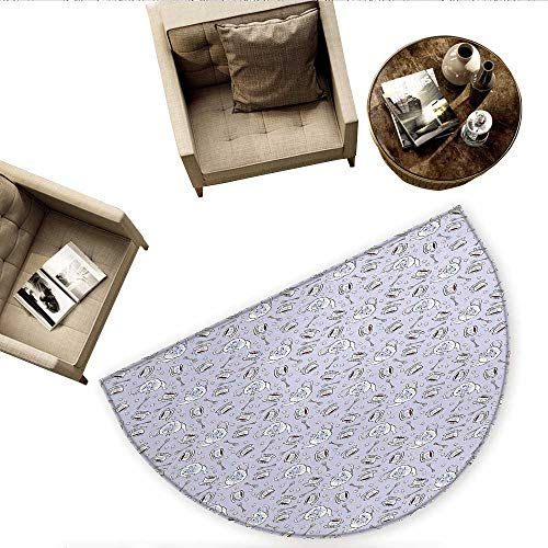 Tea Party Half Round Door mats Cups and Pot of Grand English Tradition Sugar Cubes and Little Spoons Bathroom Mat H 78.7