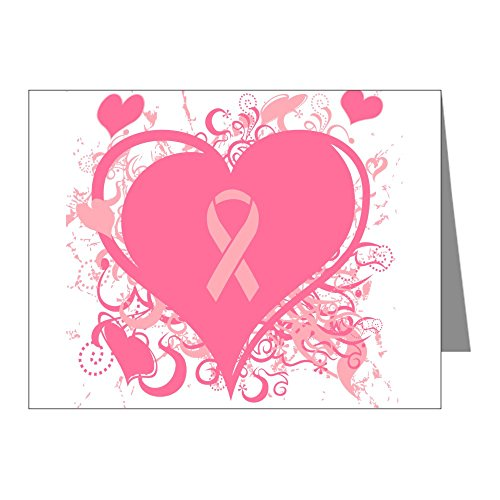 CafePress - Pink Hearts And Ribbon Breast Note Cards - Blank Note Cards (Pack of 20) Glossy by CafePress