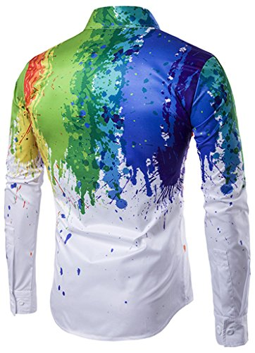 Whatlees Mens Hipster Long Sleeve Paint Splatter Print Slim Fit Club Party Button Down Dress Shirt B320-02-M