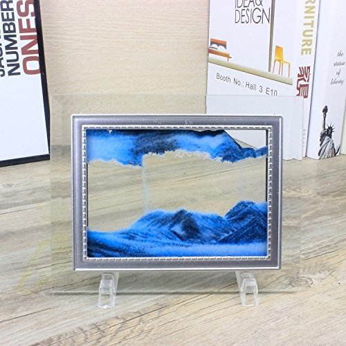 CooCu Dynamic Moving Sand Picture,Sand Art,Sandscapes Art In Motion,Desktop Art Toys,Best Gift to your friend with Gift Card(Blue) (S) ()