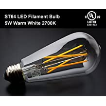YUURTA ST64 Retro Vintage Edison LED Filament Light Bulbs 5W (50W Incandescent Equivalent Replacement) 2700K Warm (Soft) White 500 - 550 Lumens 120V Medium Base E26 Omnidirectional UL Listed Energy Saving (2700K, 1)