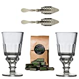 Original Absinthe Accessory Set including 2x Absinthe Glasses / 2x Absinthe Spoons / 1x Absinthe Sugar Cubes - The Absinthe accesories set comes with instructions how to prepare Absinthe the tradition
