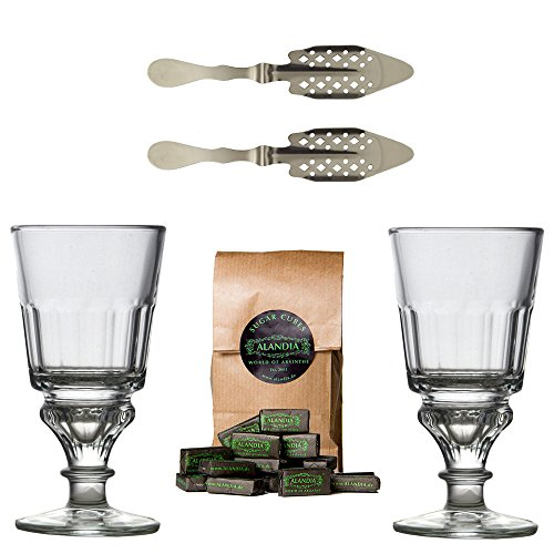 Original Absinthe Accessory Set including 2x Absinthe Glasses/2x Absinthe Spoons/1x Absinthe Sugar Cubes - The Absinthe accesories set comes with instructions how to prepare Absinthe the tradition Accesory Set