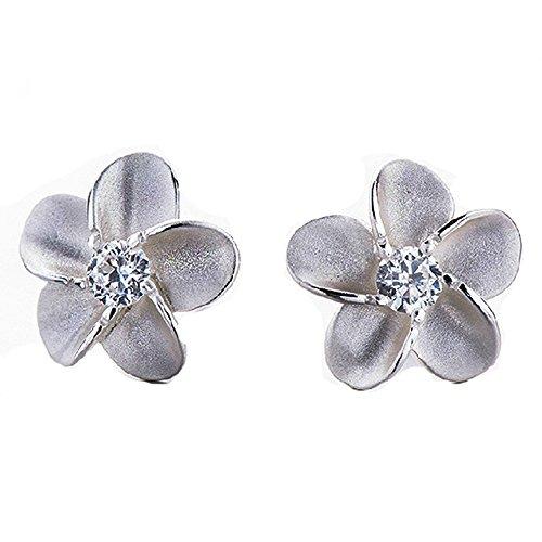 Charm Basketball Pierced 10k - Double FNT Floral Shaped Matte Finished Girls Sterling Silver Diamond Stud Earrings