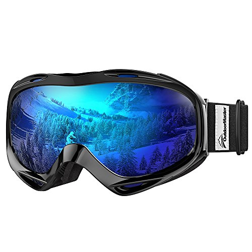 OutdoorMaster OTG Ski Goggles - Over Glasses Ski / Snowboard Goggles for Men, Women & Youth - 100% UV Protection (Black Frame + VLT 15% Grey Lens with Full REVO Blue)