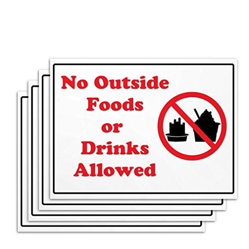 No Food or Drinks Signs - 4 Pieces - Rust Free - Clear And Visible Text - Light Tough Long-Lasting - Easy To Install - Direct But Non-Offensive Warning For All