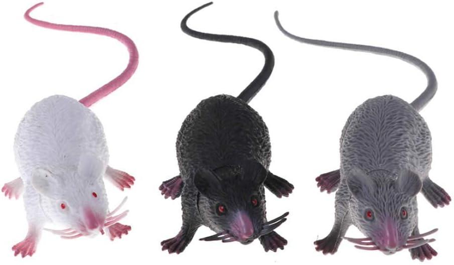 ISKYBOB 3 Piezas Ratas Realistas de Plástico, Ratón Falso