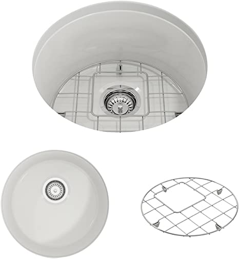 Bocchi 1361 001 0120 Sotto Round Undermount Fireclay 18 5 In Single Bowl Kitchen Sink With Protective Bottom Grid And Strainer In White Amazon Com