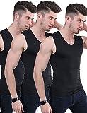 Men's 3 Pack Ice Silk Undershirts T Shirt V Neck Fitness Tank Tops Vest (Black+Black+Black, Tag 2XL=US L)