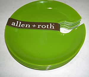 Allen Roth Green Cocktail Appetizer Wine Melamine Plates (Set of 4)
