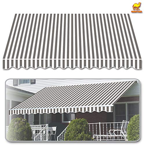 Strong Camel 12'x8' Outdoor Patio Awning Cover Only Canopy Patio Deck Retractable Sun Shade Shelter Replacement-Only Cove (Grey with White) (Retractable Patio Covers)