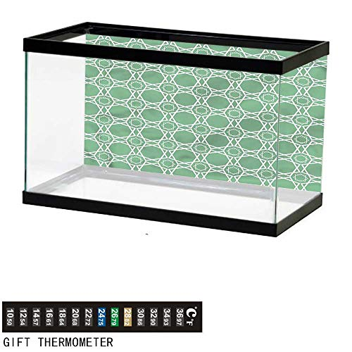 bybyhome Fish Tank Backdrop Green,Moroccan Traditional Tile,Aquarium Background,24