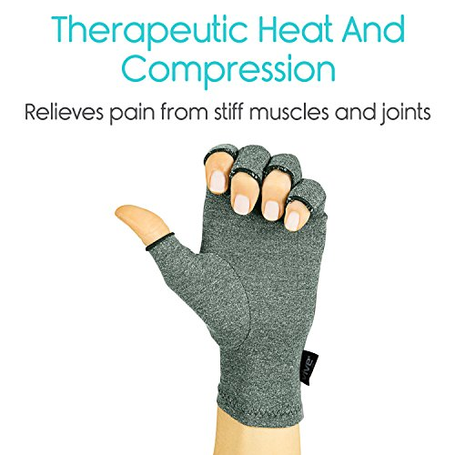 Vive Arthritis Gloves - Compression Glove for Rheumatoid, Osteoarthritis - Heat Hand Gloves for Computer Typing, Arthritic Joint Pain Relief, Carpal Tunnel - Men, Women - Open Finger Thumb (Medium) by VIVE (Image #3)