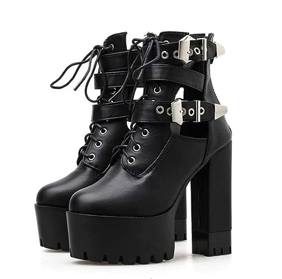 DANYCU Leather Womens Primavera Platform Boots Signore