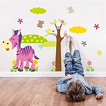 Ultabuildtm cartoon animal forest wall stickers decals for nursery and kids room home