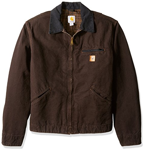 Carhartt Men's Blanket Lined Sandstone Detroit Jacket J97,Dark Brown,XX-Large
