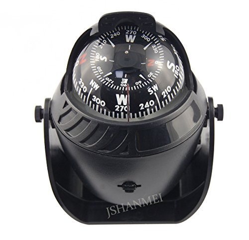 Marine Dash Mount Compass - Navigation Explorer Compass Black Color Large Size Vehicle Car Marine Boat Nautical Sport LED Light Compass with Bracket Visible Wire Line
