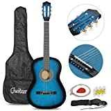 """Smartxchoices Acoustic Guitar for Starter Beginner Music Lovers Kids Gift 38"""" 6-String Folk Beginners Acoustic Guitar With Gig bag, Strap, Tuner and Pick (Blue) …"""