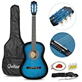 "Smartxchoices Acoustic Guitar for Starter Beginner Music Lovers Kids Gift 38"" 6-String Folk Beginners Acoustic Guitar With Gig bag, Strap, Pitch Pipe, Pick (Blue)"