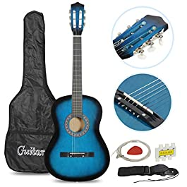 Smartxchoices Acoustic Guitar for Starter Beginner Music Lovers Kids Gift 38″ 6-String Folk Beginners Acoustic Guitar With Gig bag, Strap, Pitch Pipe and Pick (Blue)