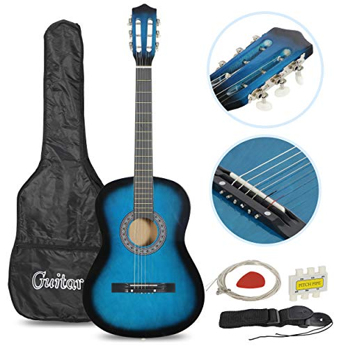 Smartxchoices Acoustic Guitar for Starter Beginner Music Lovers Kids Gift 38″ 6-String Folk Beginners Acoustic Guitar With Gig bag, Strap, Tuner and Pick (Blue) …