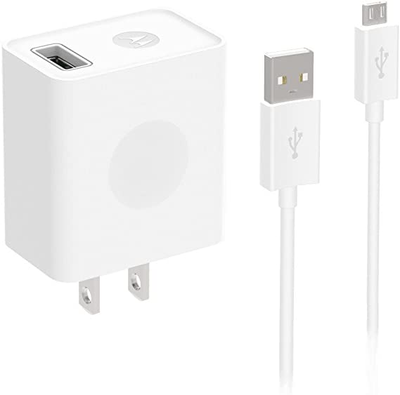 Motorola 10W Rapid Charger with 1m (3.3ft) SKN6462A data cable for Moto G5, E4, E4 Plus, G4 Play, Micro-USB devices (Retail Packaging)