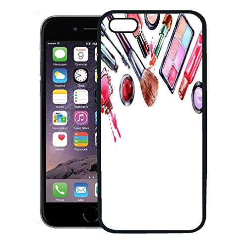 Semtomn Phone Case for iPhone 8 Plus case,Watercolor Cosmetics Pattern Make Up Artist Lipstick Nail Perfumes Eye Shadows Brushes Mascara Beauty iPhone 7 Plus case Cover,Black ()
