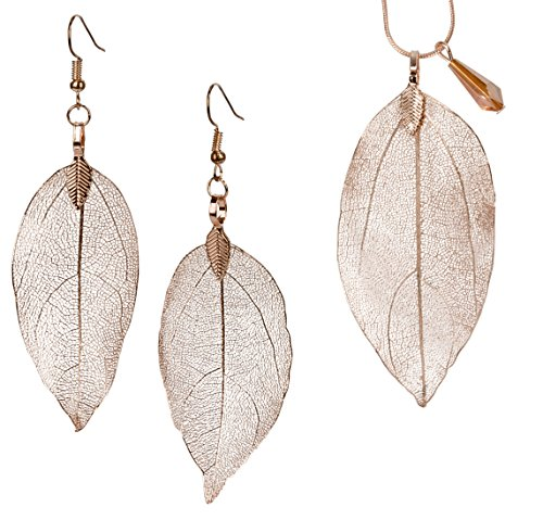 SPUNKYsoul Leaf Filigree Earrings & Necklace Set Lightweight Silver, Gold and Gun Metal & Rose Gold Fishhook Earwire Gift for Women Collection (Set Earrings Necklace Rose - Earwire Metal