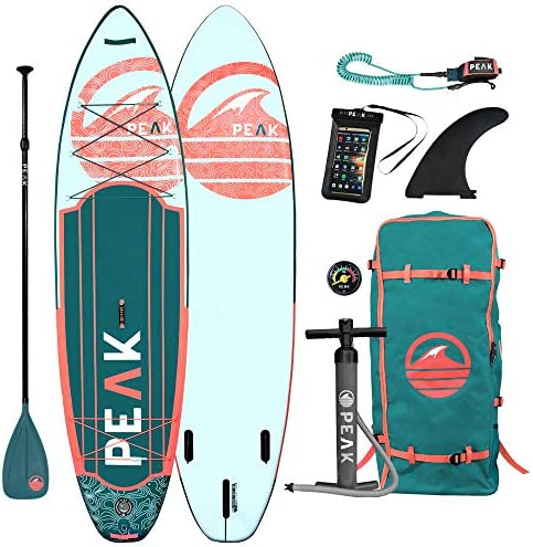 Peak Expedition Inflatable Stand Up Paddle Board Durable Lightweight Touring SUP with Stable Wide Stance 10 6 or 11 Long x 32 Wide x 6 Thick