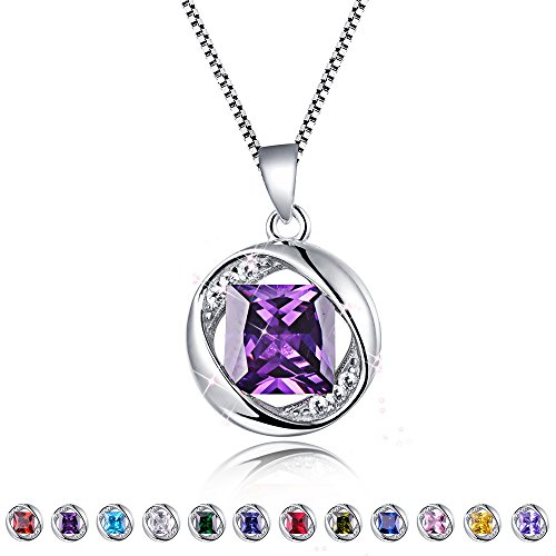Aurora Tears Created-Amethyst Pendant February Birthstone Necklace for Women 17.7
