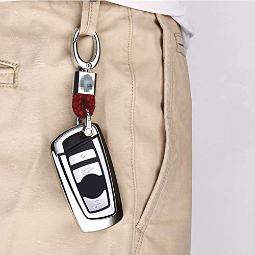 HEY KAULOR 2Pack Genuine Leather Car Logo Keychain Suit for Jeep Key Chain Keyring Family Present for Man and Woman,Black and Red