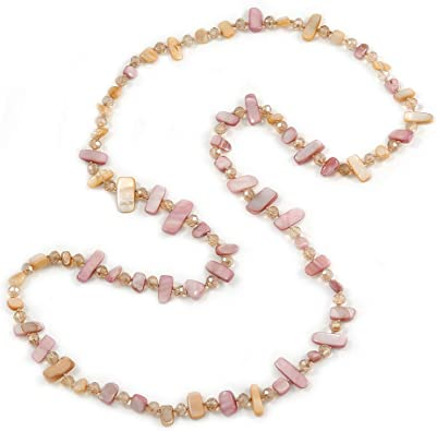 Clear Long Necklace Pale Pink Brown Faceted Transparent Beads Chain Linked Subtle Understated Simple Jewellery