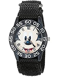Boy's 'Mickey Mouse' Quartz Plastic and Nylon Casual Watch, Color:Black (Model: WDS000515)