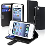 eForCity Leather Case with Credit Card Wallet for Apple iPhone 4 - Retail Packaging - Black