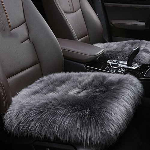 Sheepskin Seat Cushion - Authentic Sheepskin 19.3 inch Car Interior Seat Cover, U&M Soft Fluffy Long Wool Seat Cushion Pad Winter Mat Universal Fit for Comfort in Auto, Plane, Office, or Home
