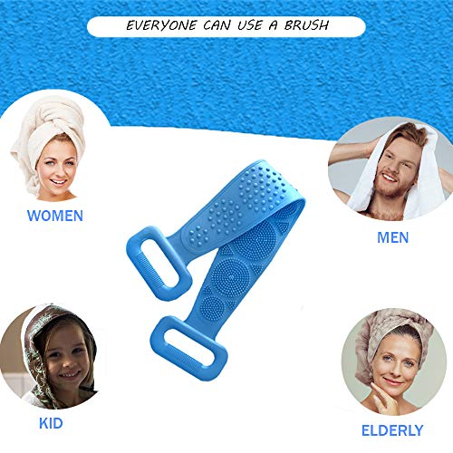 UniversalChoice Silicone Body Scrubber Set for Men, Women - 28.5-Inch Silicon Bath Brush Set with Storage Hooks, Storage Bag - Eco-Friendly Exfoliating Back Washer Massage Scrubbers for Use in Shower