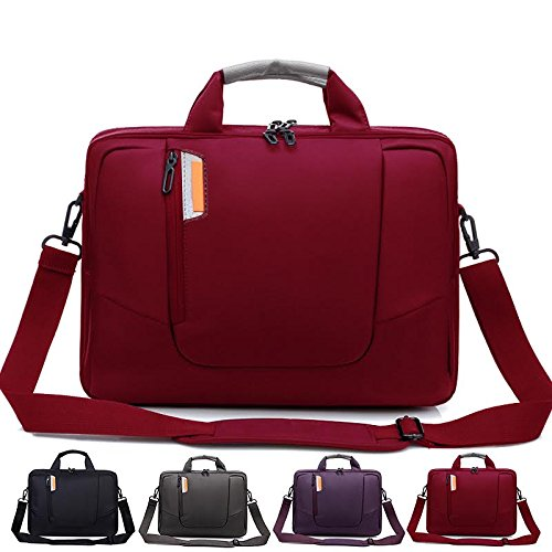 Laptop Crossbody Messenger Bag, Soft Nylon, Foam Padded Briefcase, Removable Shoulder Strap - For 15.6 Inch Notebooks, Red - By Rawboe (Bag Red Laptop)