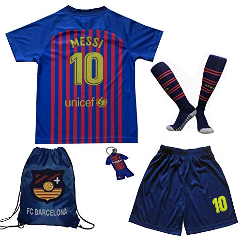 - BIRDBOX Youth Sportswear Barcelona Leo Messi 10 Kids Home Soccer Jersey/Shorts Bag Keychain Football Socks Set (Home, 10-11 Years)