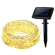 VicTsing 150 LED Solar Powered Outdoor String Light for Christmas Party, Home Decoration, Garden Fence Path, Patio (33FT Flexible Copper Wire, 8 Lighting Modes)